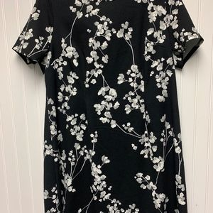 Black dress with white and gray flowers